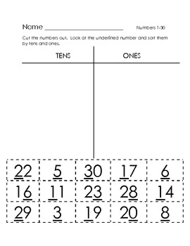Tens and Ones Numbers 1-30