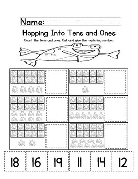 Tens and Ones Place Value Practice for Numbers 11-19