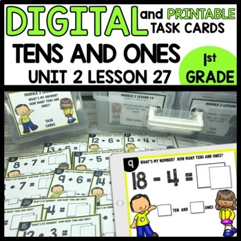 Tens and Ones Practice DIGITAL TASK CARDS | PRINTABLE TASK CARDS