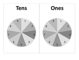 Tens and Ones Spinner Game with Recording Sheet