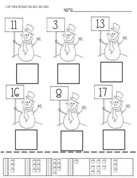 Tens and Ones blocks with Snowmen