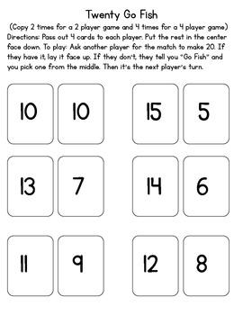 Tens and Twenty Go Fish Math