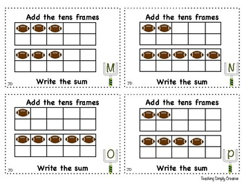 Tens frame addition - Football themed
