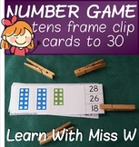 Tens frame clip cards to 30
