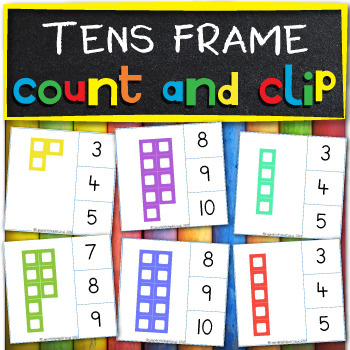 Tens frame count and clip cards to 10
