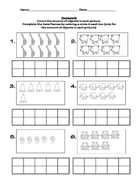 Tens frame numbers, number sense/recognition, and counting objects