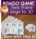 Tens frame to 30 Bingo Game