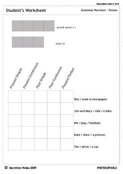 Tenses revision sheet - STUDENT'S WORKSHEET