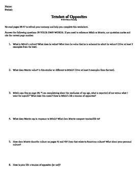 Tension of Opposites Worksheet