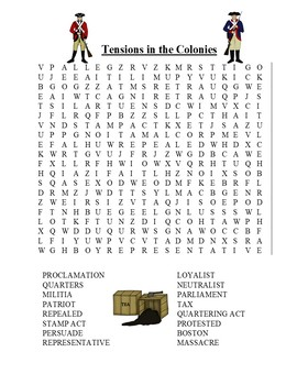 Tensions in the Colonies Word Search