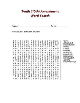 Tenth (10th) Amendment Word Search