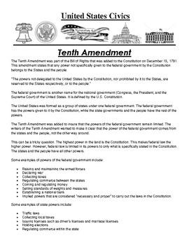 Tenth Amendment Civics Article and Assignment