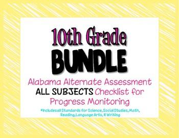 Tenth Grade  AAA ALL SUBJECTS BUNDLE Checklist Progress Monitoring