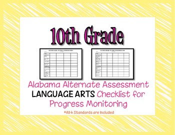 Tenth Grade AAA Language Arts Checklist Progress Monitoring