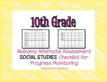 Tenth Grade AAA Social Studies Checklist Progress Monitoring