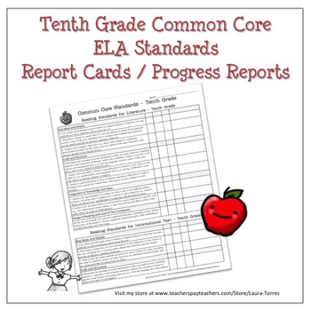 Tenth Grade ELA Common Core Progress Report / Chart