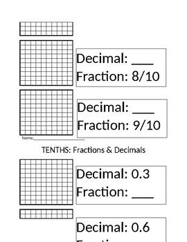 Tenths (Decimal, Fraction, Visual)