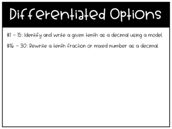 Relating Tenths & Decimals Task Cards