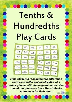 Tenths & Hundredths Game Playing/Flash Cards - Maths Resource