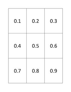 Tenths, Hundredths, Thousandths Fraction Decimal Matching Flashcards