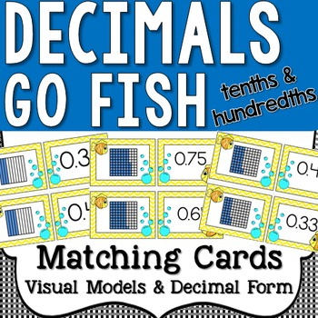 Tenths and Hundredths - Decimal Form and Models Go Fish Matching Cards