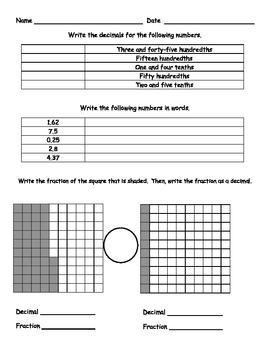 Tenths and Hundredths - Decimals and Fractions
