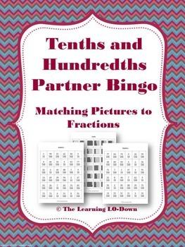 Tenths and Hundredths: Fraction Partner Bingo
