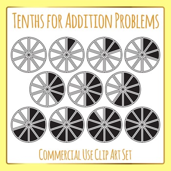 Tenths for Addition - Color in Fractions Clip Art for Comm