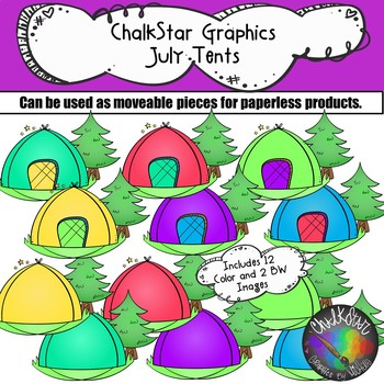 Tents July Clip Art –Chalkstar Graphics
