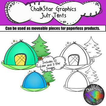 Tents July Clip Art –Chalkstar Graphics