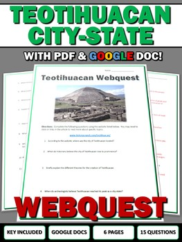 Teotihuacan (Aztec History) - Webquest with Key (Google Doc Included)