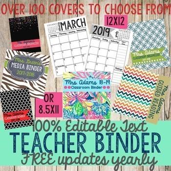 Teacher Binder, Planner, Daybook with yearly updates