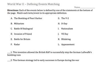 Term - Definition - Matching Activity - World War II