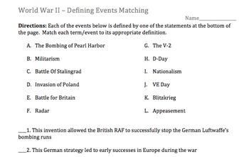 Term - Definition - Matching Activity - World War II