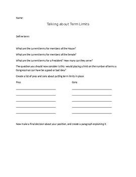 Term Limits Brainstorm worksheet