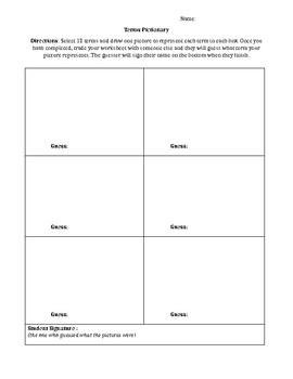 Term Pictionary Worksheet