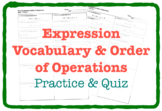 Expression Vocabulary & Order of Operations (Practice & QU