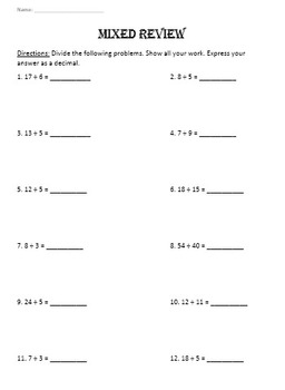Terminating & Repeating Decimals and Word Problems to Interpret the Quotient