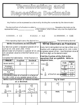 Terminating And Repeating Decimals Worksheets & Teaching Resources | TpT