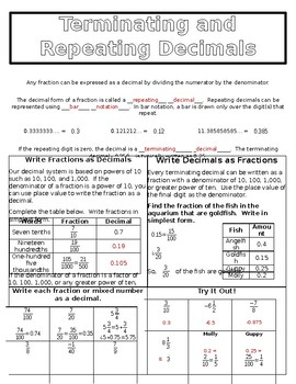 Terminating and Repeating Decimals