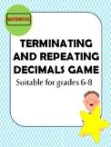 Terminating and repeating decimals game