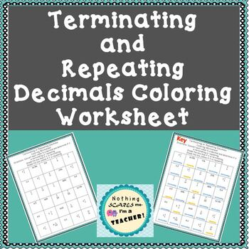 terminating and repeating decimals coloring worksheet by nothingscaresme. Black Bedroom Furniture Sets. Home Design Ideas