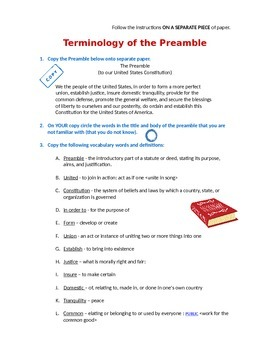 Preamble Vocabulary - analysis terminology definitions teach explain