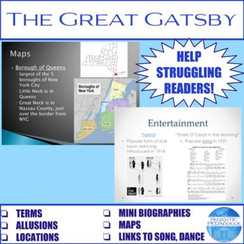 Terms/Allusions/Maps for Each Chapter in The Great Gatsby