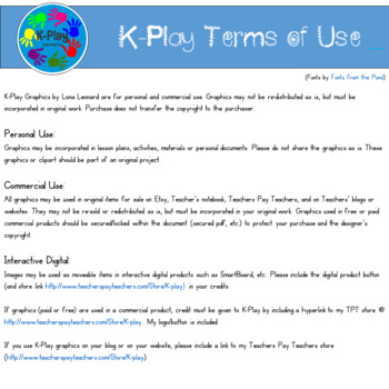 Terms of Use (K-Play Clip Art)