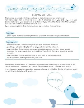 Terms of Use - Little Bird Digital Art - Single User Non Commercial Licence
