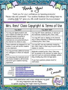 Terms of Use - Personal Use by Mrs. Renz' Class (FREE)
