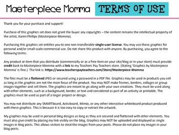 Terms of Use for Clip Art by Masterpiece Momma