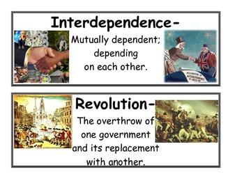 Terms of the American Revolution - Vocabulary Cards