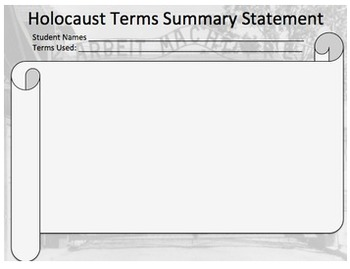 Terms of the Nazi Germany Holocaust Vocabulary Activity & Wrap-up
